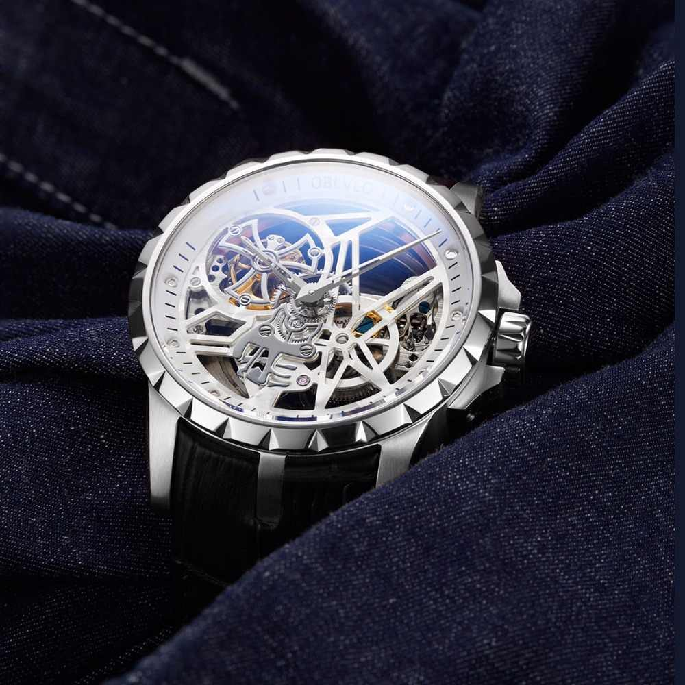 OBLVLO Luxury Open Work Design Mens Watches Skeleton Dial Calfskin Strap Watch Automatic Movement Waterproof Montre Homme RM-1