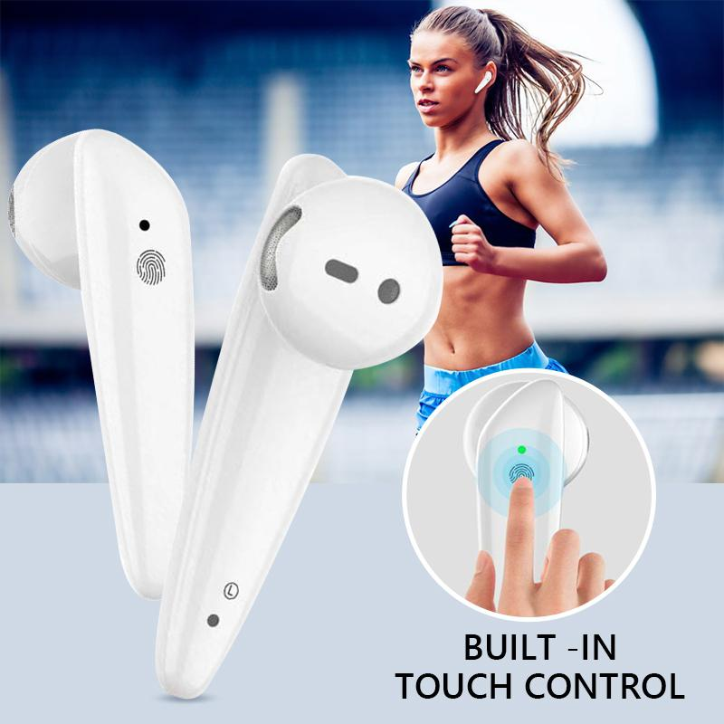 DSstyles <font><b>I18</b></font> <font><b>TWS</b></font> Infrared Light Wireless <font><b>Earphone</b></font> In-Ear <font><b>Earphones</b></font> BT 5.0 Dual-Call Touch Waterproof Bluetooth Headset image