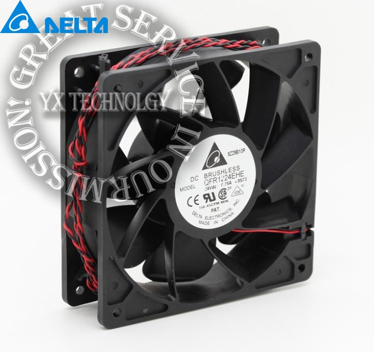 New and Original QFR1224EHE 12038 12cm 24V 0.75A wind capacity inverter fan for Delta  120*120*38mm new original afb1212vhe foo 12038 0 9a winds of double ball bearing fan for delta 120 120 38mm