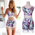 Sexy Summer 2pcs Set Sleeveless Lace Tassel Tank Tops+Shorts V Neck Women Floral Rompers Jumpsuit Casual Beach Overall Playsuit