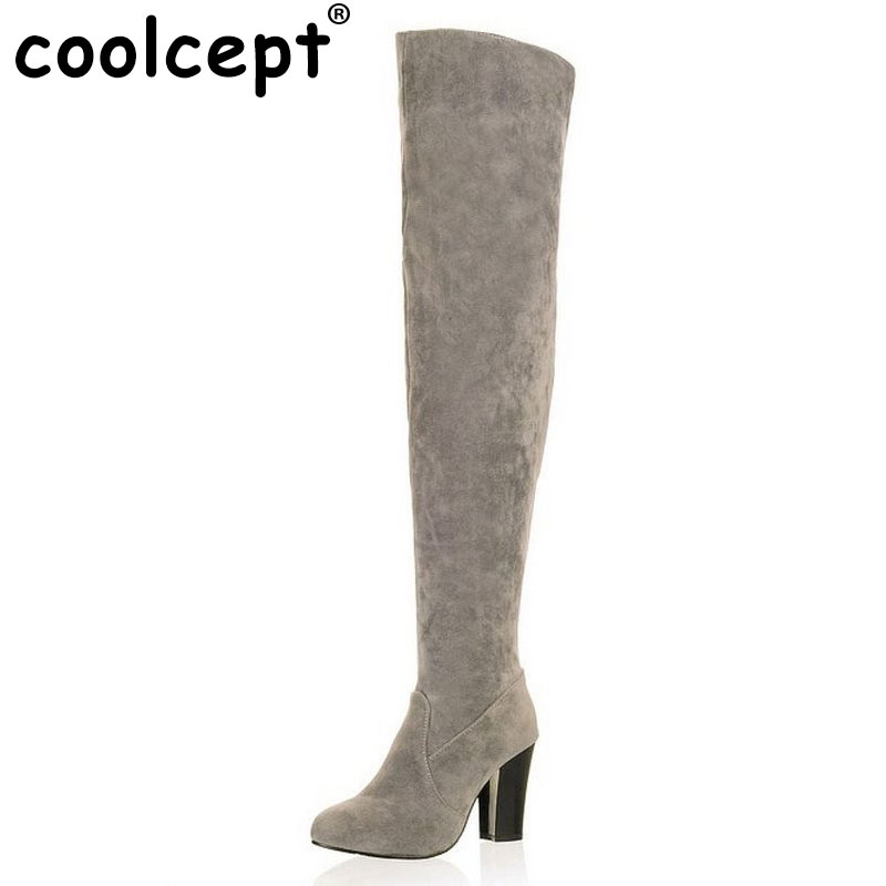 Coolcept Women Over Knee Long High Heel Boots Woman Snow Botas Masculina Winter Warm Boot Footwear Shoes P10604 EUR Size 34-43