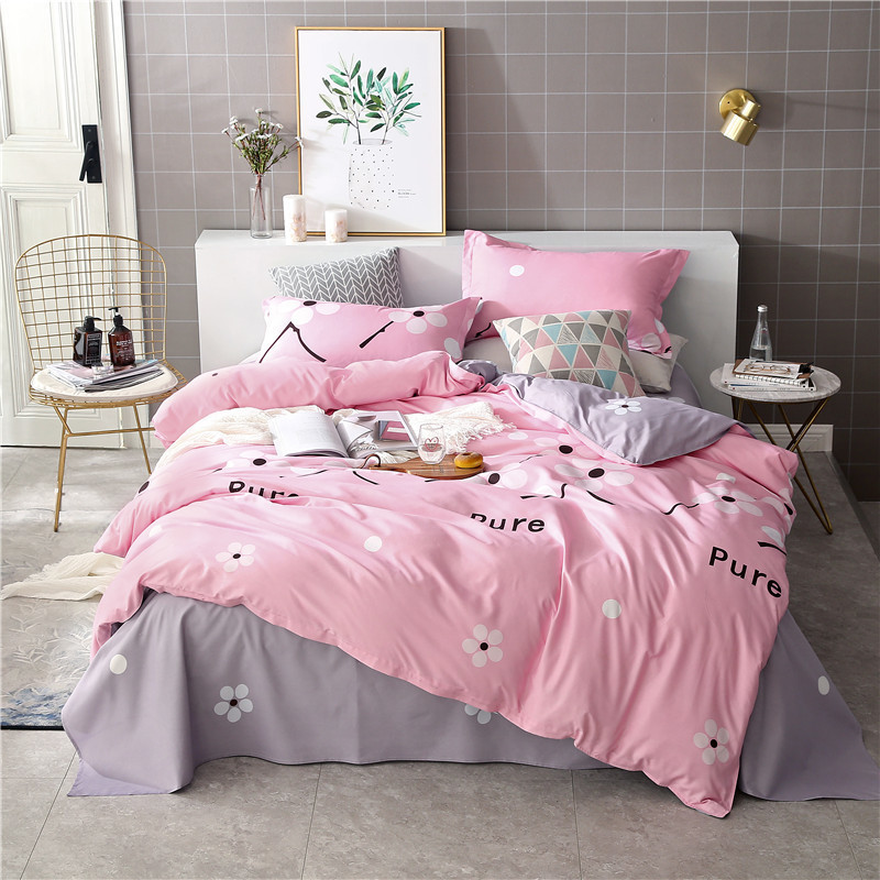 Solstice Home Textile King Twin Size Bedding Set Girl Woman Teen Adult Linens Flower Pink Gray Duvet Cover Pillowcase Bed Sheets