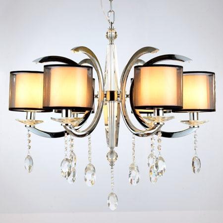 Modern K9 Crystal Chandelier Luxury Fashion Black Fabric Lampshade Home Lighting 6 Bulbs E14 110 240v
