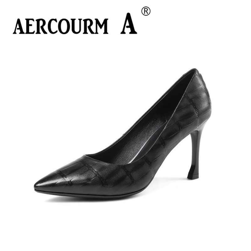 Aercourm A 2018 Women Black Apricot Genuine Leather Shoes Female Serpentine Pumps Ladies Dress Solid Shoes Women Shoes MLD3161 aercourm a 2018 women black fashion shoes female bright genuine leather shoes pearl high heel pumps bow brand new shoes z333