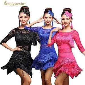 Lady Latin dance dress Women Competition Dress half-sleeve Tassel Milk Silk Fantasia Masculina Para Adulto Robe Salsa Adulte(China)
