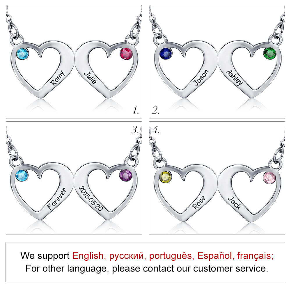 Customized Pendants Necklaces 925 Sterling Silver Double Heart - Fine Jewelry - Photo 4