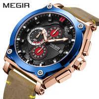 MEGIR chronographe Montre de Sport pour hommes de luxe en cuir Quartz montres pour hommes horloge Erkek Kol Saati Montre Homme Zegarek Meski