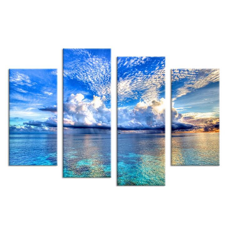 4pcs beautiful ocean sunset landscape wall painting print for Cheap art prints on canvas