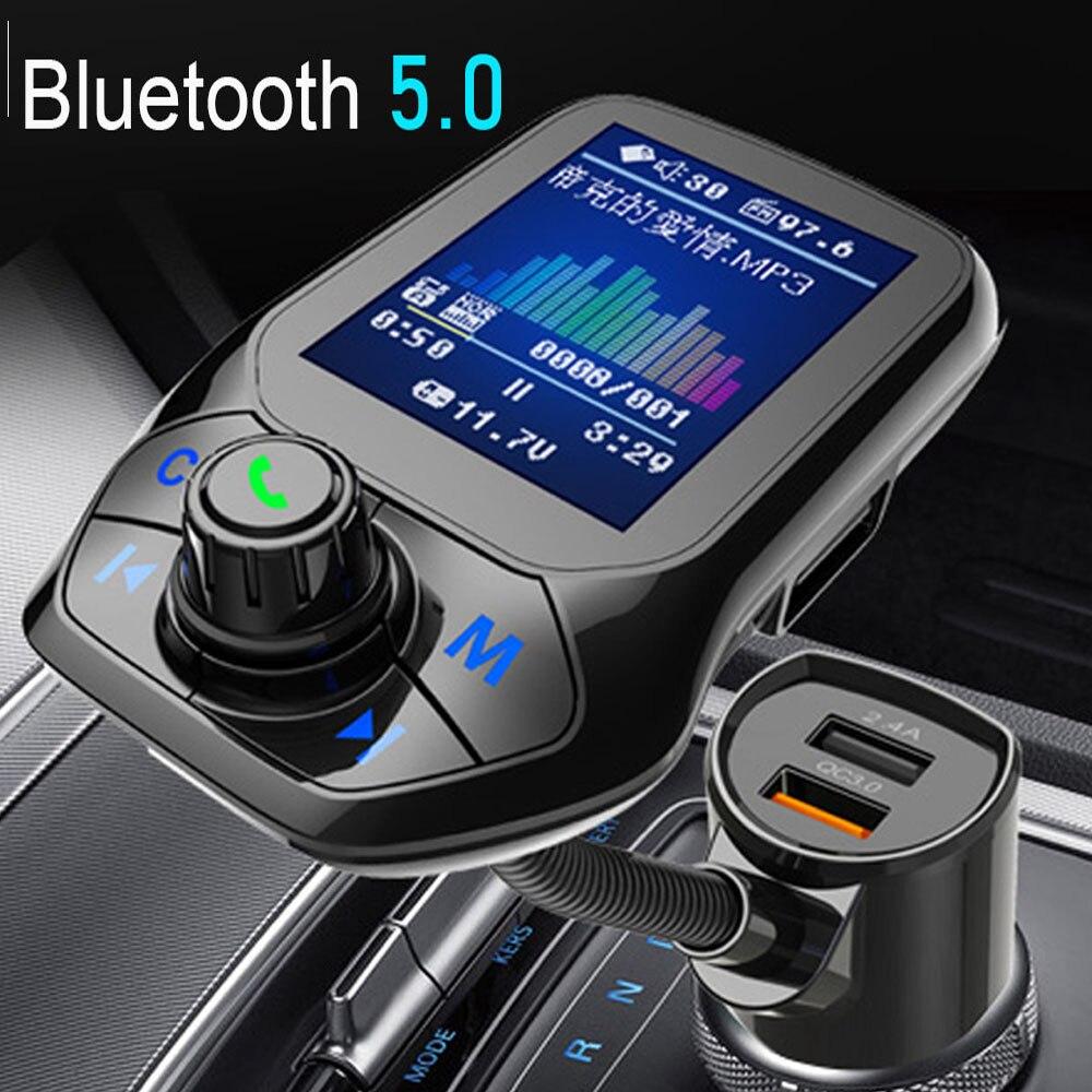 Jinserta 2020 carro mp3 player de música bluetooth 5.0 receptor transmissor fm duplo usb qc3.0 carregador u disco/tf cartão lossless música