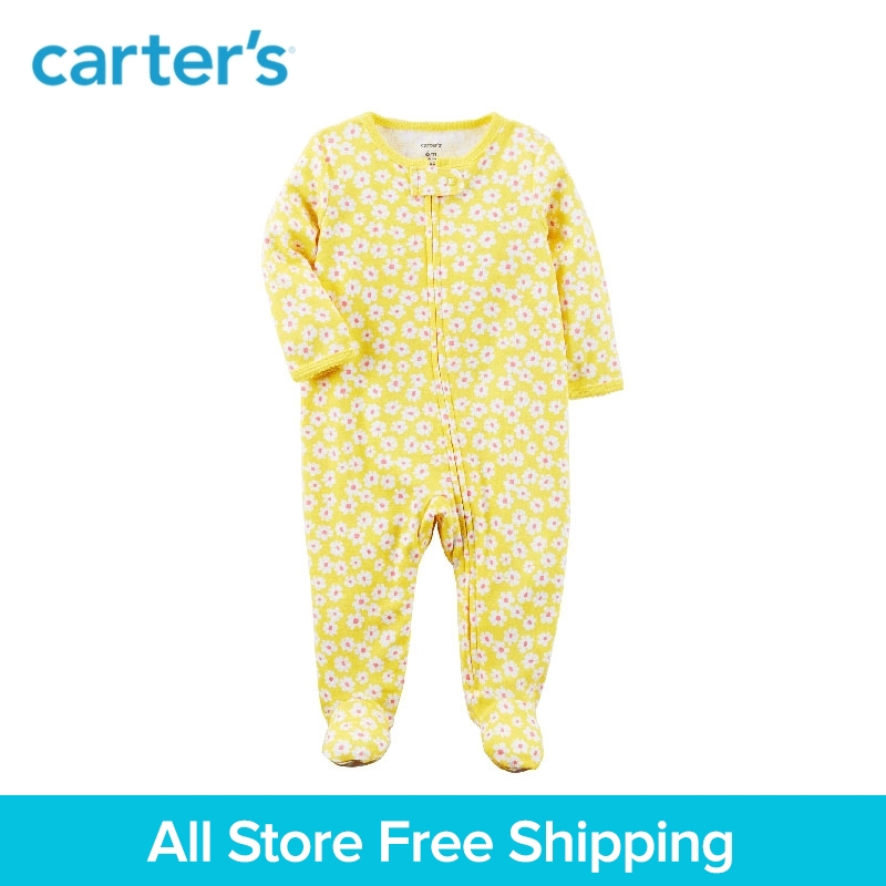 Carters 1-Piece baby children kids clothing Girl Spring & Fall Zip-Up Cotton floral print Sleep & Play 115G498