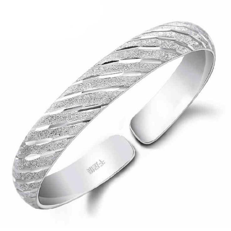 Bangles 925 Sterling Silver Bracelet For Women Genuine 925 Silver Classic Cuff Bangles Bracelets Party Jewelry Gift Ay322 Beneficial To Essential Medulla Bracelets & Bangles