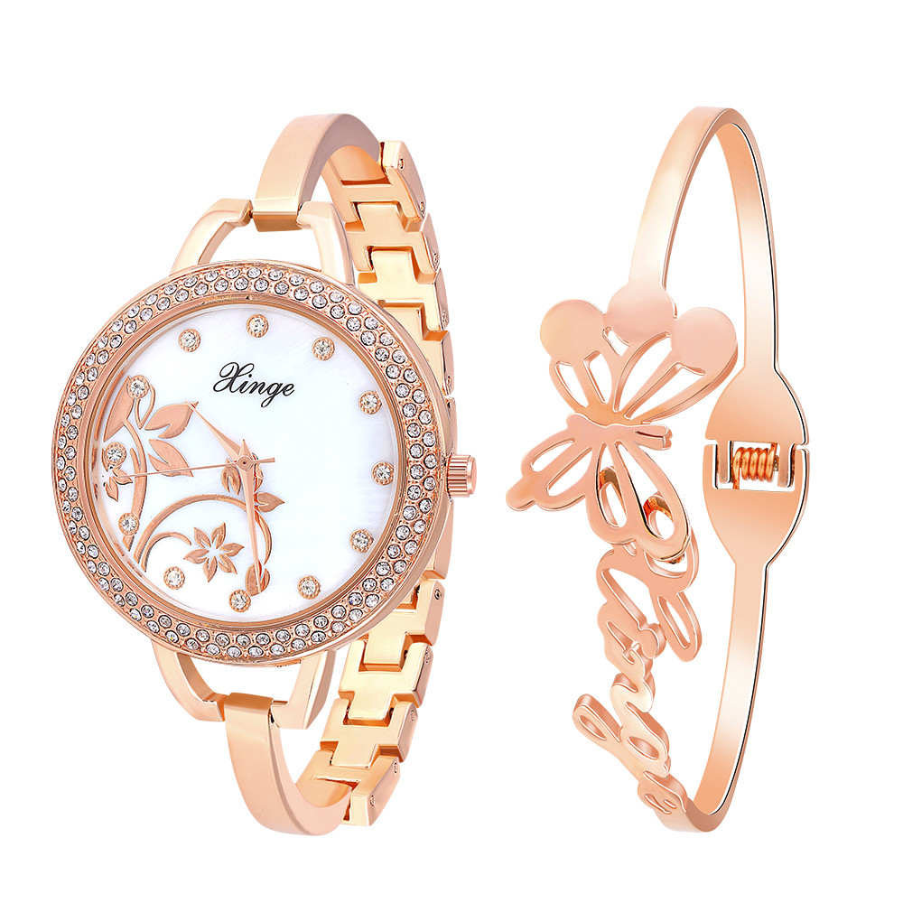 ФОТО Womens Watches top Brand Gold Watch 2016 Rhinestone Butterfly Watch And Bracelet Set 388-R Free shipping Feida