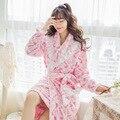 2016 Pijamas de Hombre Bata De Otoño E Invierno Caliente de Dos pieza En la Sección Larga De la Pequeña Flor Fresca Princesa Albornoz camisón