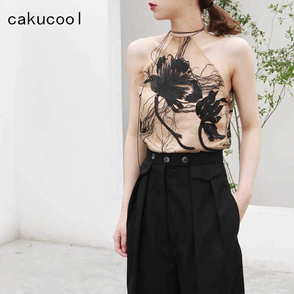 Cakucool New Women Summer Camisole Halter Neck See-through Mesh Floral Embroid   Tank     Top   Elegant Slim Runway Design Camis Femme