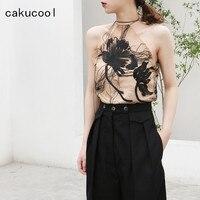 Cakucool New Women Summer Camisole Halter Neck See through Mesh Floral Embroid Tank Top Elegant Slim Runway Design Camis Femme