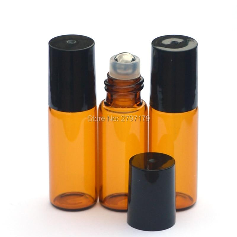 1pcs 5ml Amber Roller Glass Bottle Empty Fragrance Perfume Essential Oil Bottle 5ml Roll-On Black Plastic Cap Bottle