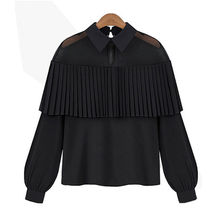 New Fashion Women Elegant Loose Long Sleeve See Through Mesh Patchwork Tops Shirt Ruffles Casual Chiffon Solid Shirt Blouses