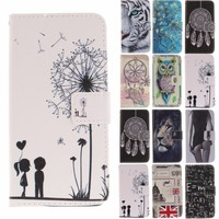Wallet Cover For Moto E4 Plus Stamp Tiger Lion Cartoon Sexy Girl Animal Flip PU Leather