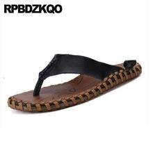 Flat White Flip Flop Shoes Men Sandals Leather Summer Water Brown Slides  2018 Black Slippers Fashion Slip On Beach Waterproof aaafd482feb7