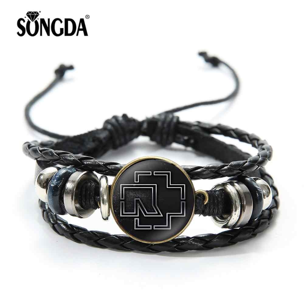 SONGDA Newest Rammstein Music Band Bracelet Hipster Rock Heavy Metal Band Logo Printed Time Gems Men Women Woven Punk Bracelets