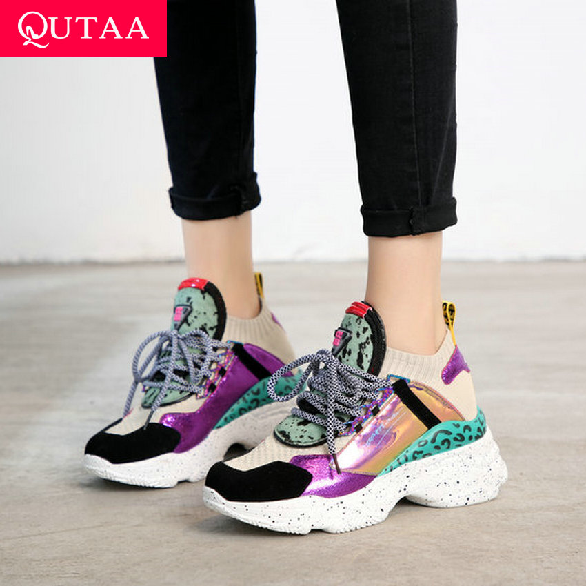 QUTAA 2020 Women Shoes Genuine Leather Wedges High Heel Round Toe Leopard Platform Lace Up Spring
