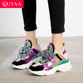 QUTAA 2020 Women Shoes Genuine Leather Wedges High Heel Round Toe Leopard Platform Lace Up Spring Summer Ladies Sneakers 35-42