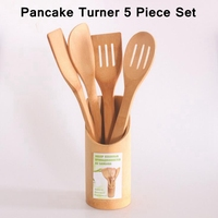 2017 New Atural 5pcs SET Pancake Turner Bamboo Spoon Spatula Wooden Utensil Kitchen Turners Tool Cooking