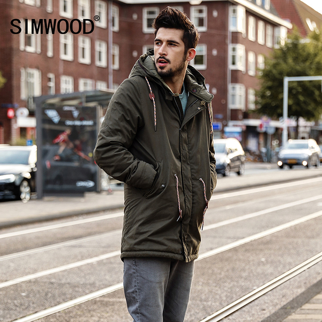 91a7d203730ae6 Simwood 2018 New Men Coats Long Trench Brand Clothing Fashion Jackets Army  Green Coats Plus Size