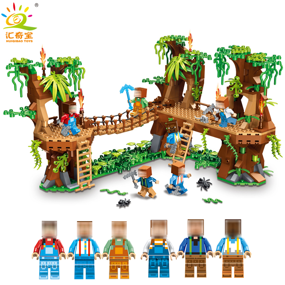 MY WORLD Forest House Steve Figures Building Blocks Bricks Set Compatible Legoed Minecrafted City Educational Toys for Children 523pcs 4 in 1 minecrafted classic tree house my world model figures building blocks bricks legoings toys for children gifts set
