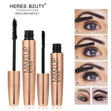 NEW 2pcs/set Brand HERES B2UTY Mascara 3D unique FIBER LASHES Love black Waterproof Transplanting Gel&Natural Make Up Cosmetics
