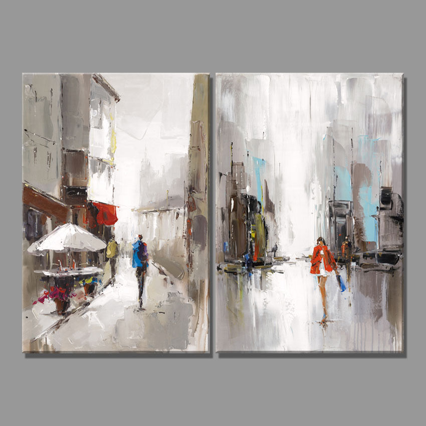 City New York Oil Painting On Canvas Wall Art For Living: 2 Piece Abstract City Street View Canvas Art Print