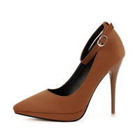 Women Pumps Spring Autumn Shallow Pointed Toe Buckle Shoes Flock 11.5CM Thin Heels High Heels Pumps Shoes Ladies