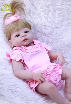 Bebes reborn real baby girl dolls 57cm full silicone reborn baby dolls alive children gift toy dolls can bathe pink doll reborn