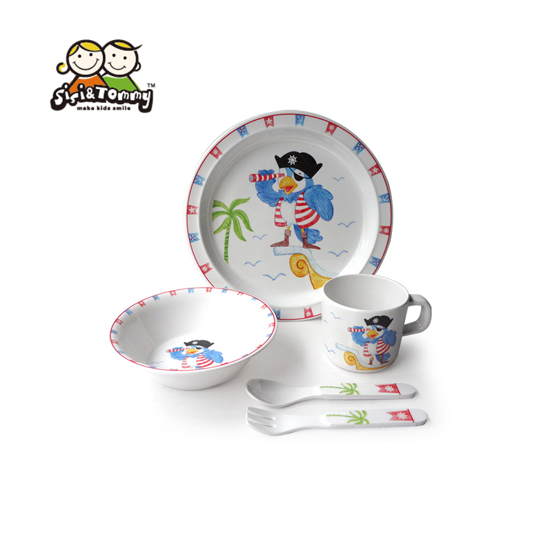 Set of 5 Melamine Dinnerware For Kids Toddler Including Plate Bowl Sippy Cup Utensils Gift Box
