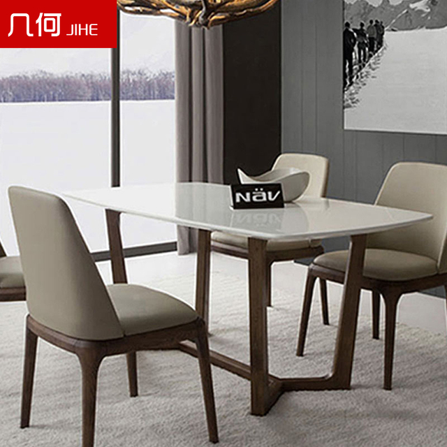 Nordic Ikea Creative Wood Marble Dining Table Dinette Combination Of Small Size Rectangular Model House Custom