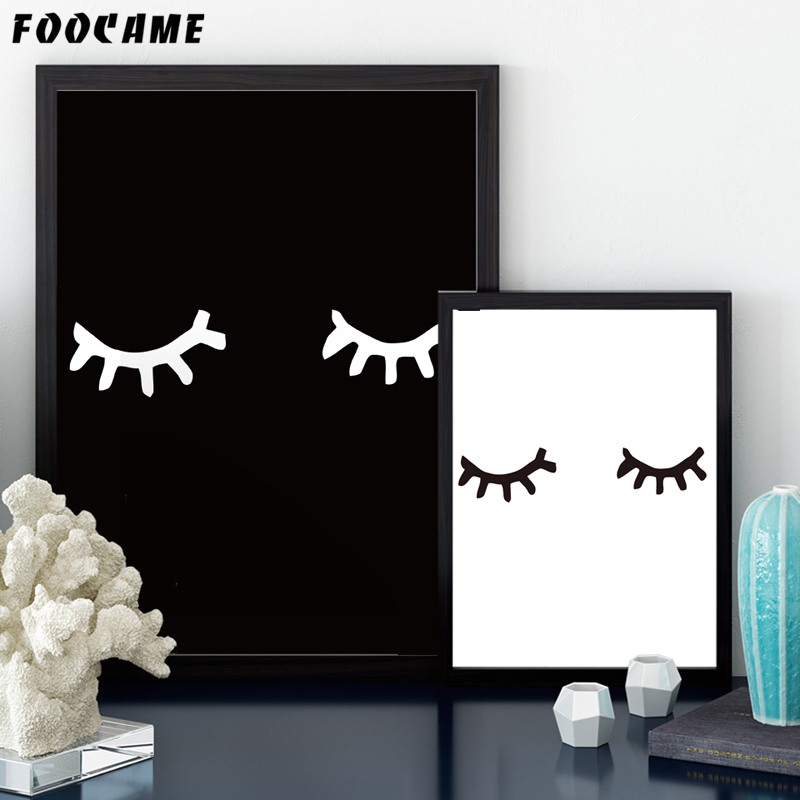 Foocame Cartoon Eyelashes Black And White Posters Prints Art Canvas Painting Modern Home Decor Wall Pictures For Living Room