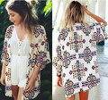 Summer Cardigans 2015 New Fashion Women Floral Print Chiffon Three Quarter Tops Blouse Summer Shirts Blusa camisas femininas