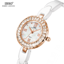 Купить с кэшбэком IBSO New Ceramic Strap Women Watches 2019 Crystal Diamonds Ladies Watches Fashion Shell Dial Quartz Watch Women Montre Femme