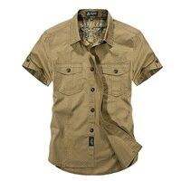 Casual Dress Shirt Men Slim Fit Military Style Army Green Male For Boys Khaki Mens Short