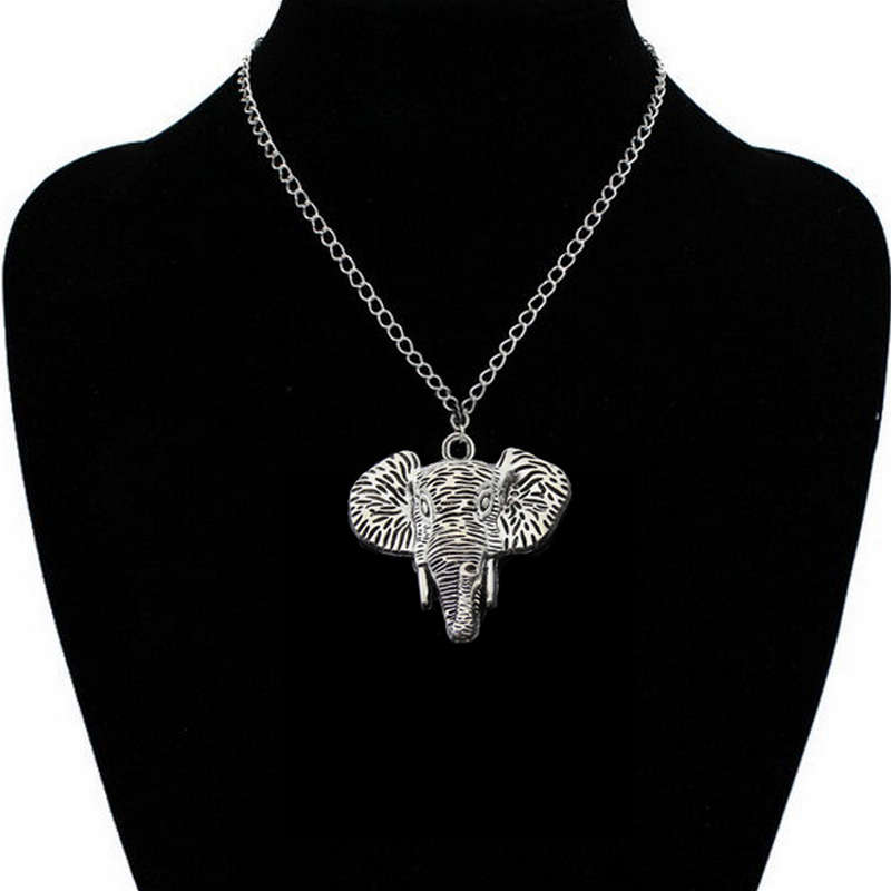 New Original Cool Style Elephant Pendant Necklace For Men Long Chain Retro Gold Silver Elephant Pendant Necklaces For Women in Choker Necklaces from Jewelry Accessories