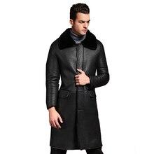 Promotion Real Sheep Fur Men Turn-down Collar Jacket Quality Sheep Sheraling Male Winter Jacket Black Warm Men Leather Outwear