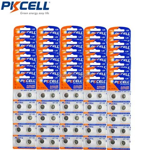 Mah para Relógios Pkcell Cartão Lr57 Lr195 Lr927 Ag7 42 Alcalina Botão Coin Baterias 1.5 v Brinquedos Calculadora 500 Pcs 50