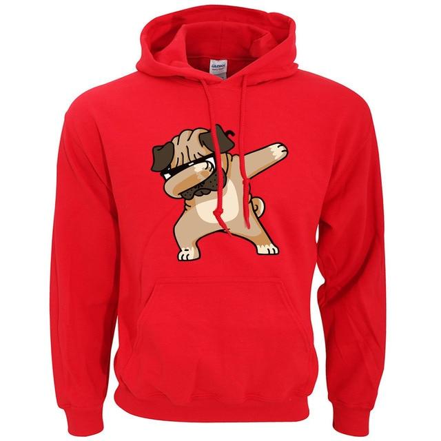 Animal Dabbing Pug Graphic Print Men's Hoodies  4
