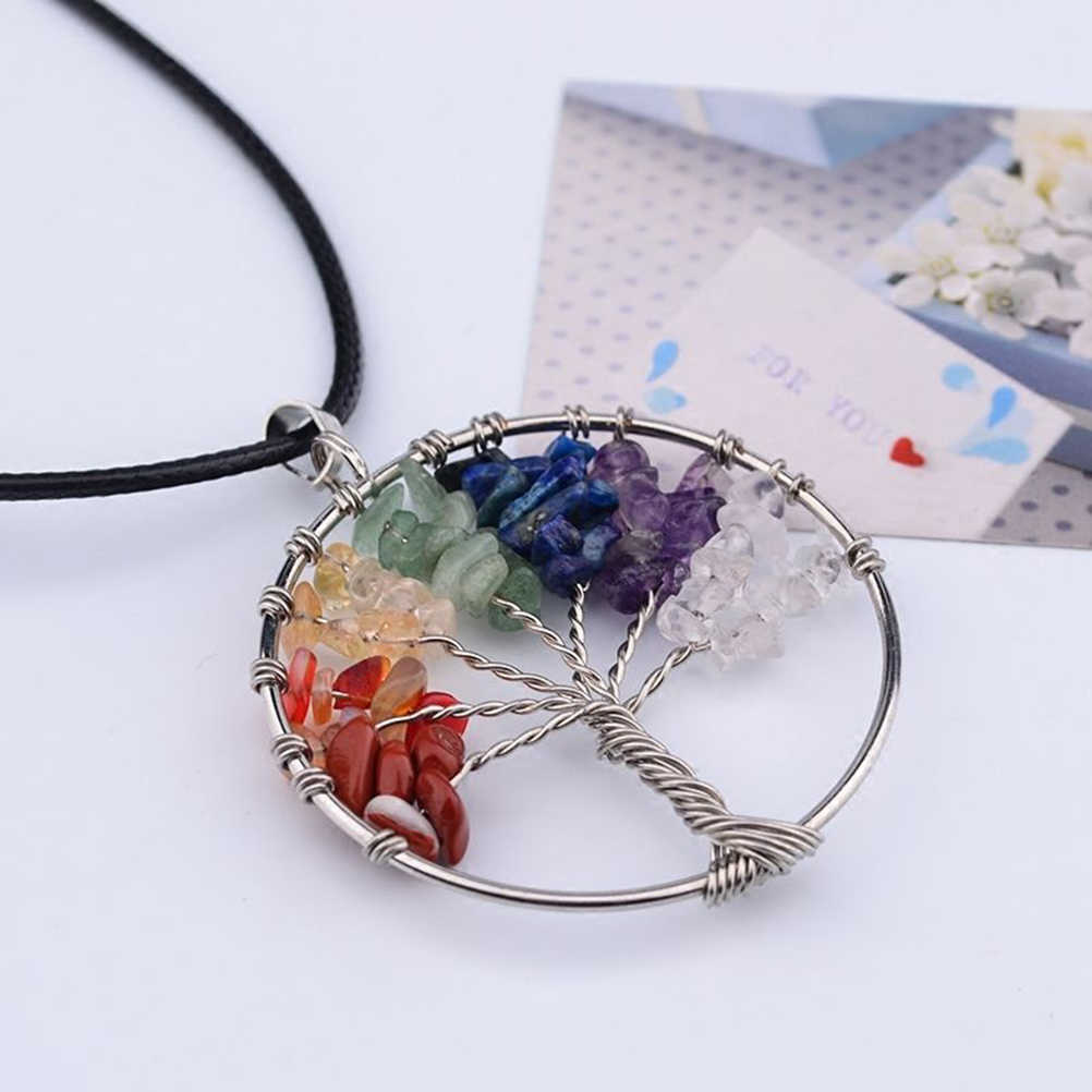 Tree Of Life Stone Pendant Necklace Copper Crystal Stone Necklace Jewelry Gifts For Women
