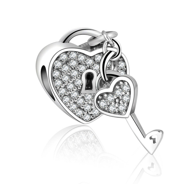 d015310fe25 Pave With CZ Padlock Charm Fit Original Pandora Charms Bracelet Jewelry 925  Sterling Silver Heart Bead 2017 Valentine's Day Gift
