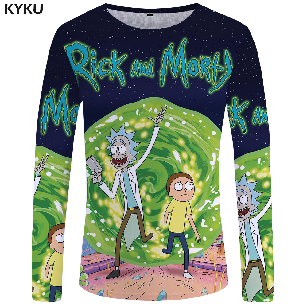 KYKU Brand Rick And Morty Long Sleeve T Shirt Anime Clothes  Tops  Funny T Shirts  Tshirt  Clothing Men Rock Top Tee Mens Homme