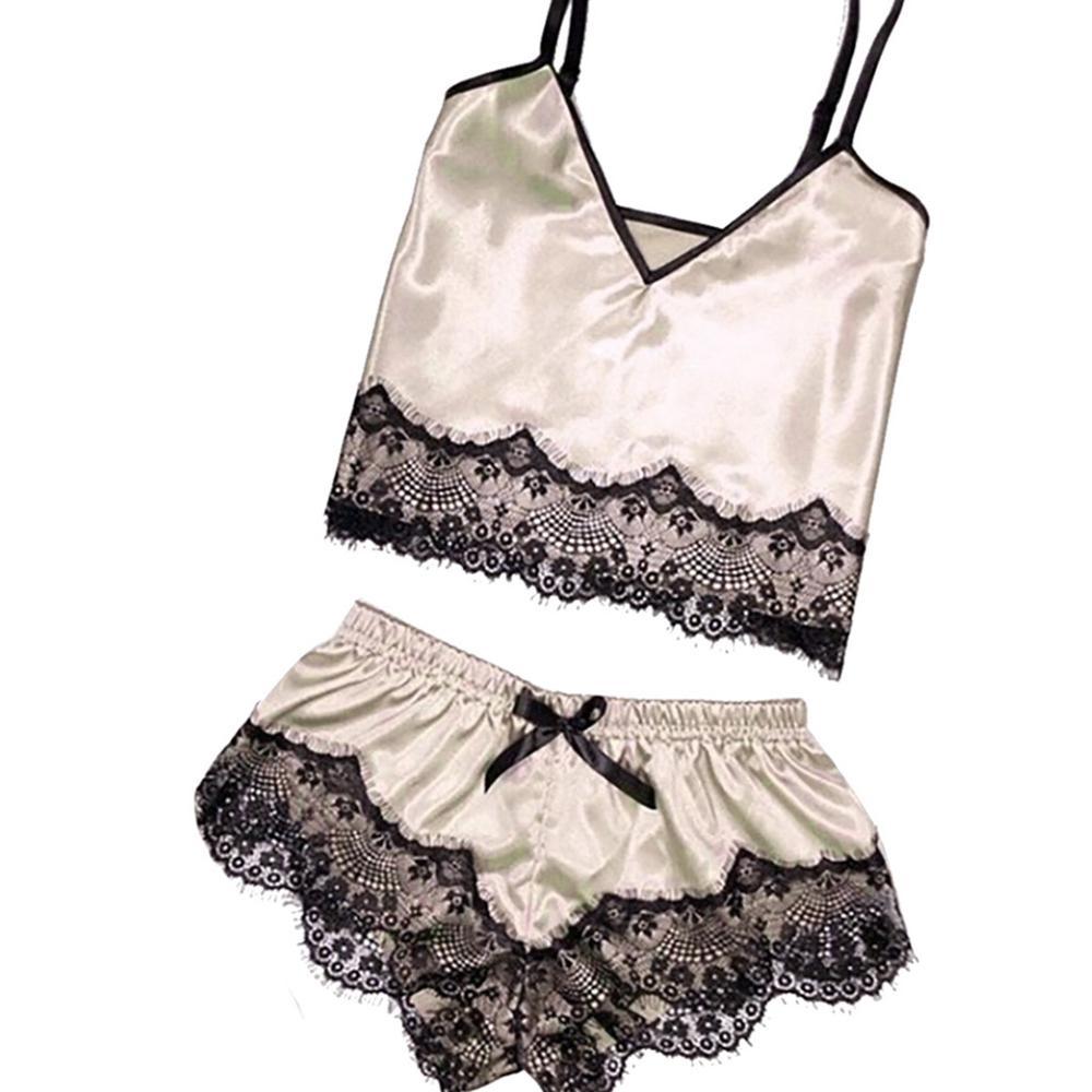 Women Summer Lace Sexy Pajama Femme  2 Pieces Set Passion Lingerie Sleeveless Nightwear Home Suit Female Sleepwear Nightie Pink