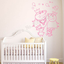Wall Sticker Cartoon Pig Kidsroom Decoration Pig Family Decor Vinyl Art Removeable Poster Beauty Modern Style Mural Poster LY628 wall sticker cartoon pig kidsroom decoration pig family decor vinyl art removeable poster beauty modern style mural poster ly628