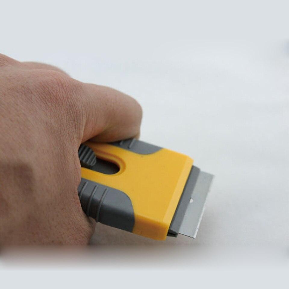 Image 4 - Free Shipping Vinyl Tool Yellow Mini Razor Scraper Spatula Scraper With Razor Blade For Gule Removing MO 89 Whole Sale-in Car Stickers from Automobiles & Motorcycles