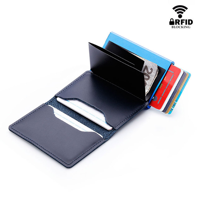 RFID Blocking 100% Genuine Leather Credit Card Holder Aluminum Metal Business ID Cardholder Slim Card Case Mini Wallet for Men